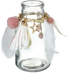 Pretty Pink Feather Glass Jar