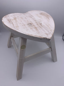 Vintage wooden heart shaped stool - more colours