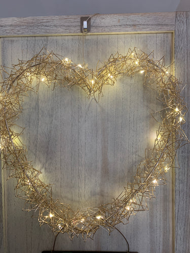 Gold Wire LED Wire Heart