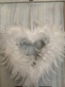 Large Hanging Feather Heart