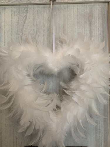 Small Hanging Feather Heart