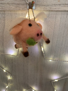Felt Flying Lucky Pig
