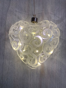 Glass Heart with LED Lights