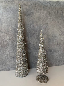 Stemmed Grey/Silver and Cream Beaded Christmas Tree