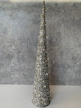 Load image into Gallery viewer, Grey/Silver and Cream Beaded Christmas Tree