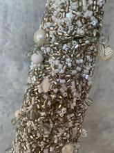 Load image into Gallery viewer, Stemmed Grey/Silver and Cream Beaded Christmas Tree