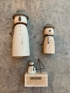Hand Carved Wooden Snowmen Set