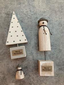Hand Carved Wooden Christmas Set