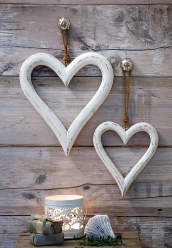 Hanging White Hearts
