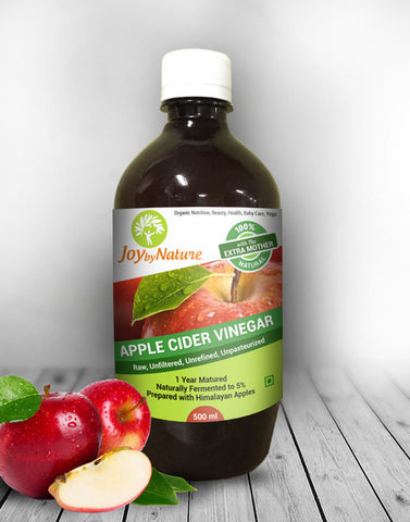 Joybynature Raw, Unprocessed, Unfiltered Apple Cider Vinegar With The Mother Acidity 5% (500ml)
