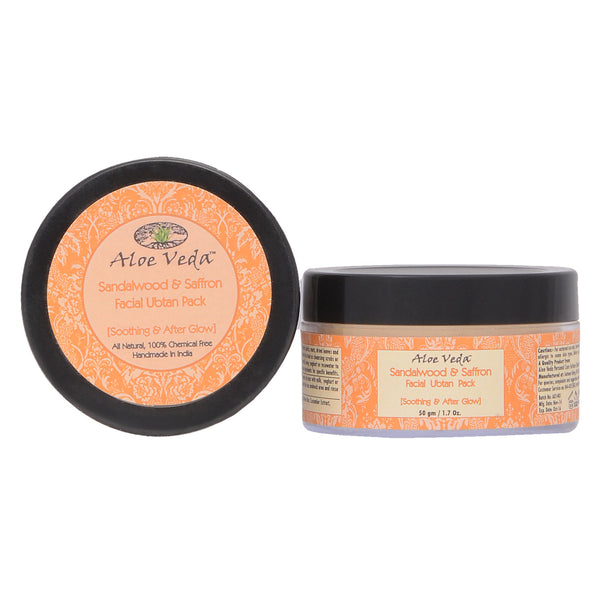 Aloe Veda Sandalwood & Saffron Facial Ubtan Pack (soothing & After Glow) 50gm