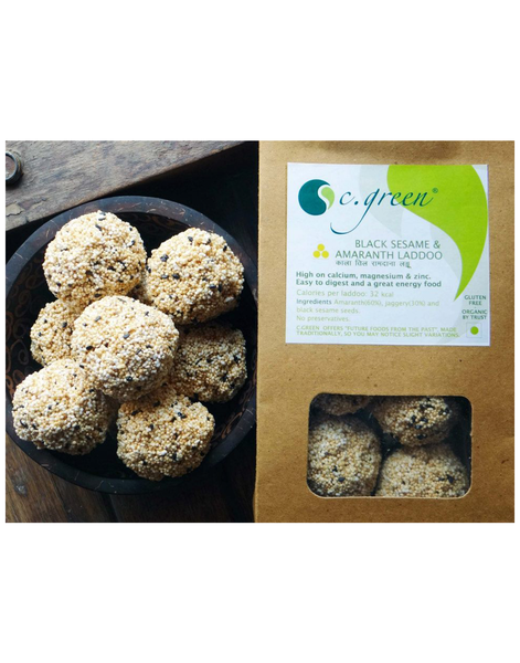 C. Green Black Sesame & Amaranth Laddoo 100gm