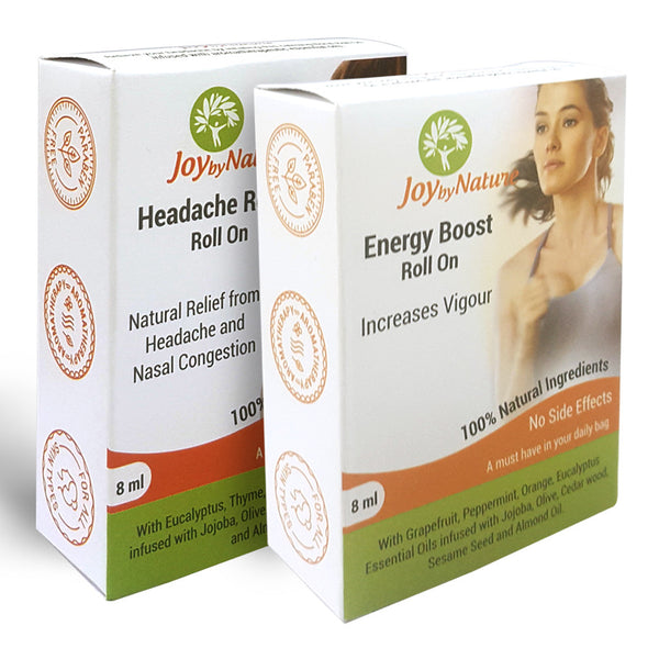 Joybynature Headache Relief And Energy Boost Roll On Combo