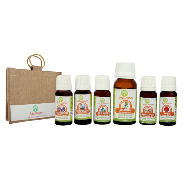 Joybynature Essential Oils (Set of 6) + Free Jute Bag
