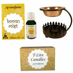 Aromafume Lemon Mist Diffuser Oil 15ml+12 T-Lite candles & Crown burner