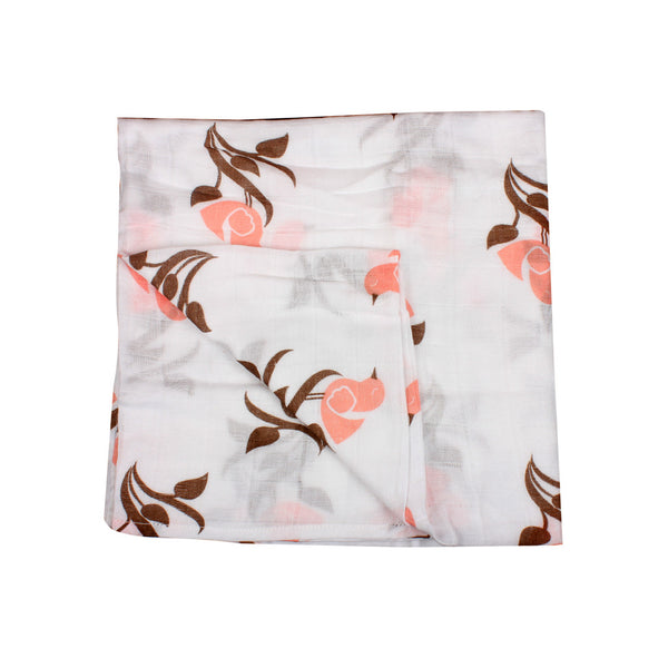 "Bumchum  Organic Muslin Wrapping Blanket ""bird Flower"""