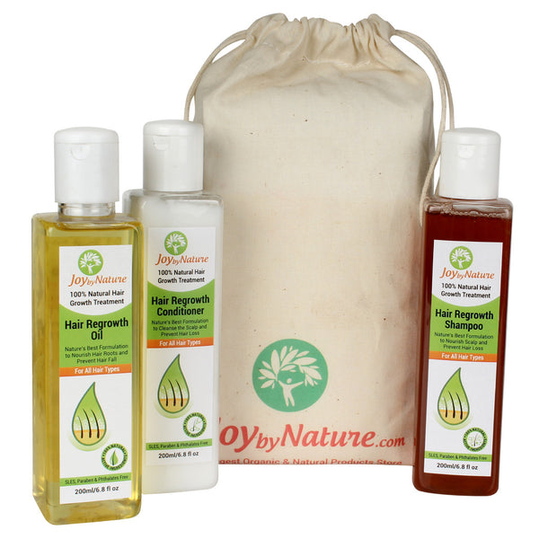 Joybynature 100% Natural Hair ReGrowth Treatment Kit (3x200ml)