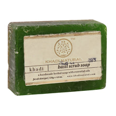 Soaps - Khadi Natural Basil Scrub Soap 125gm