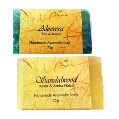 Soil Handmade Ayurvedic Soap  Aloe Vera and Sandalwood (75g  Each)
