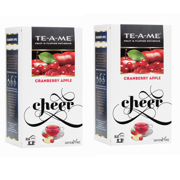 TE-A-ME Cranberry Apple Fruit And Flower Herbal Tea Infusion (25 Tea Bags) (Pack of 2)