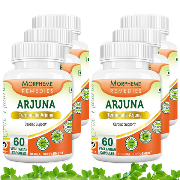 Morpheme Terminalia Arjuna Cardiac Support 500mg Extract 60 Veg Capsules (6 Bottles)