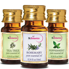 StBotanica Tea Tree Oil And Rosemary And Peppermint Pure Essential Oil 10ml Each