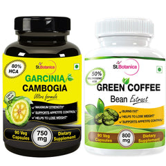 StBotanica Garcinia Cambogia Ultra 80% HCA 750mg And Green Coffee Bean Extract For Weight Loss (Pack of 2)