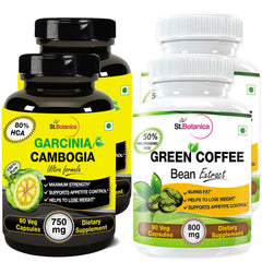 StBotanica Garcinia Cambogia Ultra 80% HCA 750mg And Green Coffee Bean Extract For Weight Loss (Pack of 4)