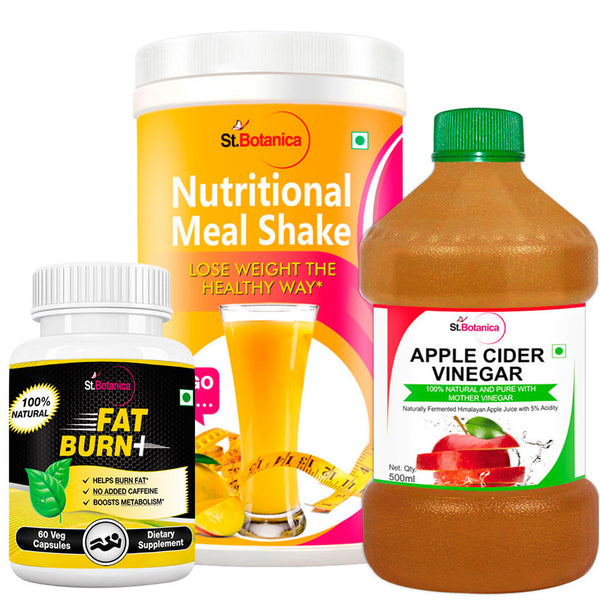 StBotanica Nutritional Meal Shake Mango And Apple Cider Vinegar And Fat Burn+ (Pack of 3)