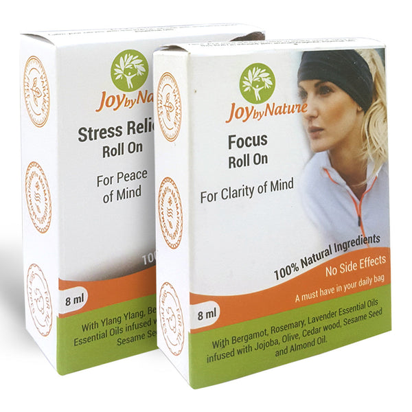 Joybynature Stress Relief And Focus Roll On Combo