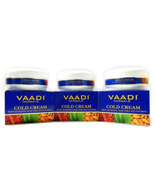 Cold Cream - Vaadi Herbals Cold Cream With Almond Oil, Aloe Vera & Saffron (Pack Of 3)