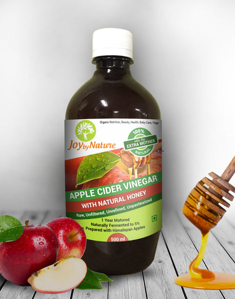 Joybynature Raw, Unprocessed, Unfiltered Apple Cider Vinegar With The Mother And Natural Honey 500ml