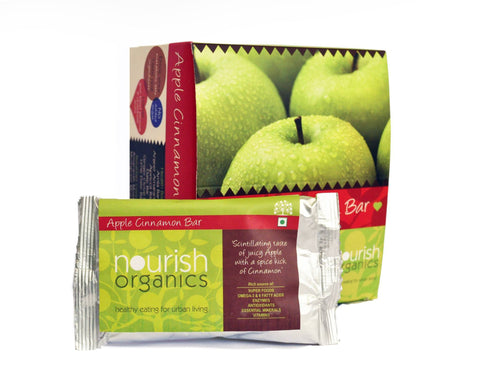 Health Bars - Nourish Organics Apple Cinnamon Bar (Pack Of 6) 30gm Each