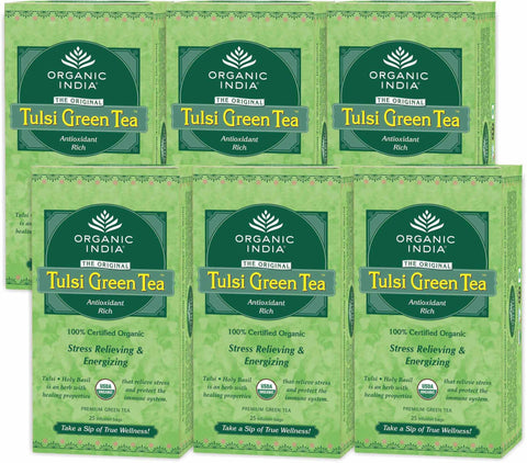 Organic Tea - Organic India Tulsi Green Tea (Pack Of 6)