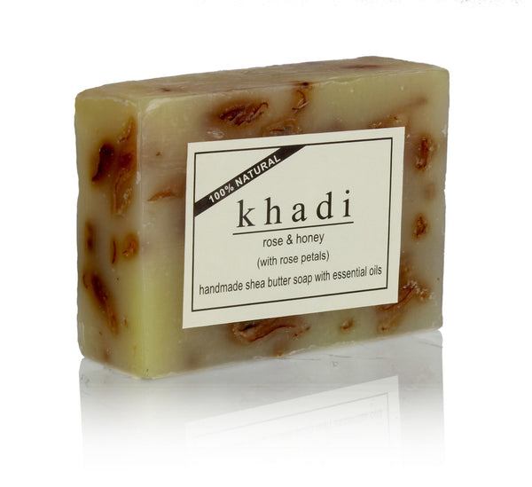 Soaps - Khadi Natural Rose & Honey Soap 100gm