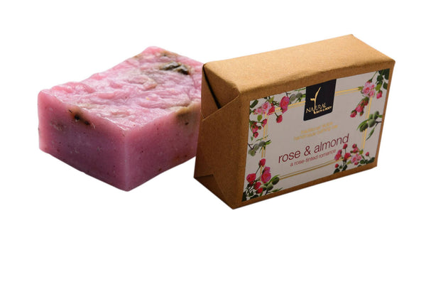 Soaps - Natural Bath & Body  Bathing Bar-rose & Almond 125gm