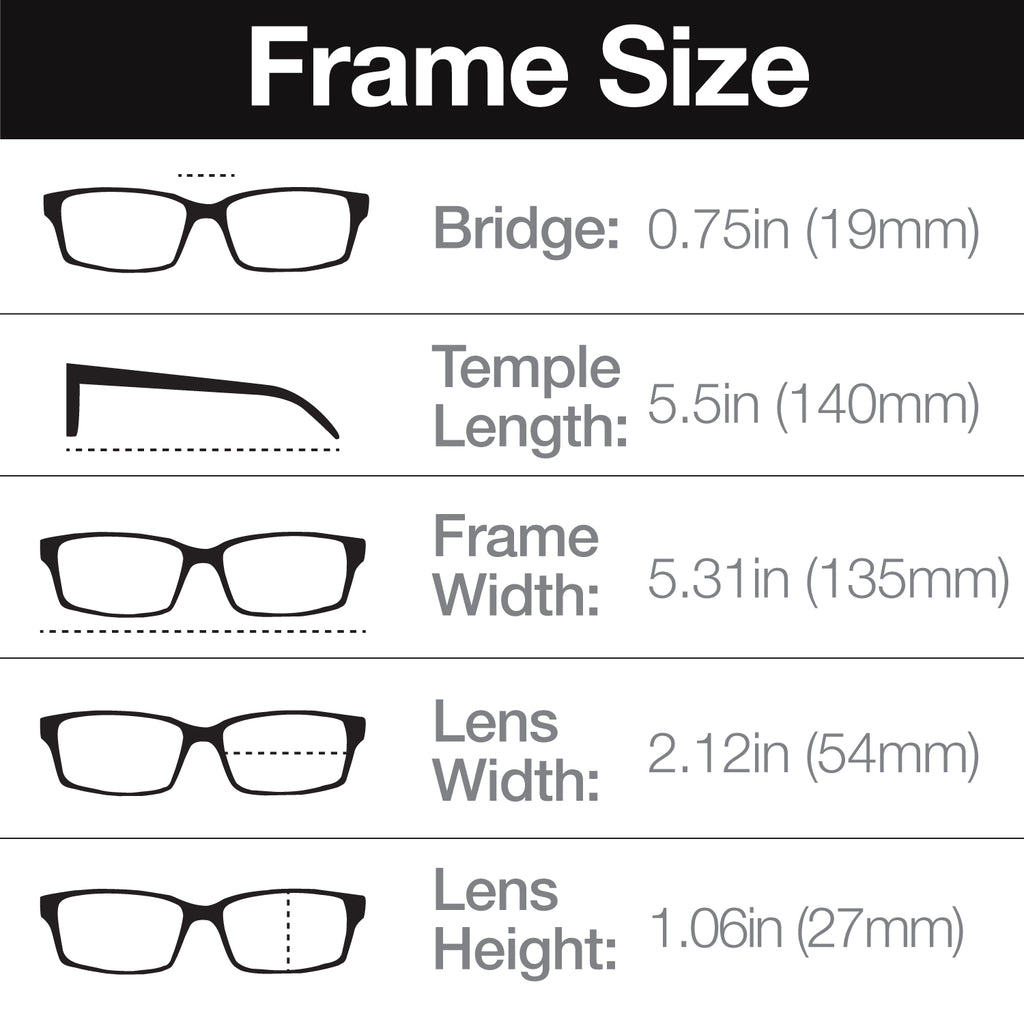 Rectangle Reading Glasses with Magnification