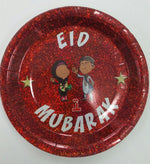 Plates - Paper - 'Eid Mubarak' - Islamic Impressions - White Writing on Red - (6 Pack)