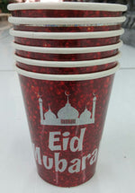 Cups - Paper - 'Eid Mubarak' - Islamic Impressions - White Writing on Red - (6 Pack)