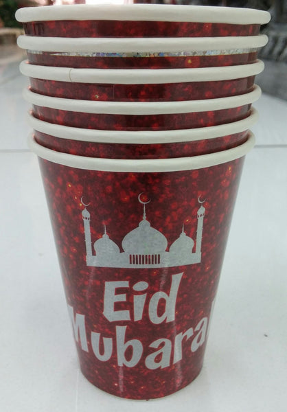 Cups - Paper - 'Eid Mubarak' - Islamic Impressions - White Writing on Red - (6 Pack) - Islamic Impressions
