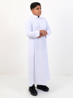 Boys Plain Thobe With Buttons & Collar - White