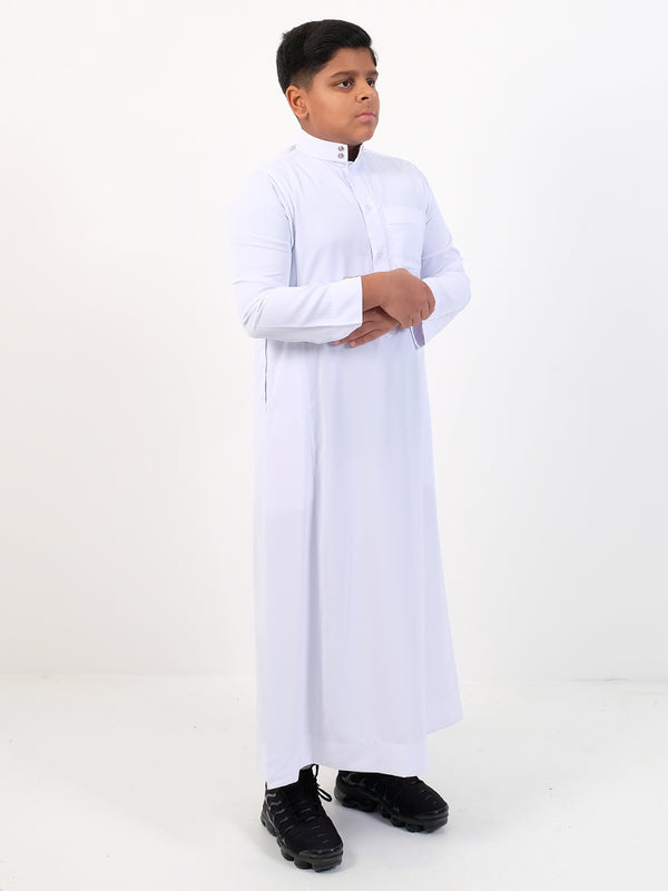 Boys Plain Thobe With Buttons & Collar - White - Islamic Impressions