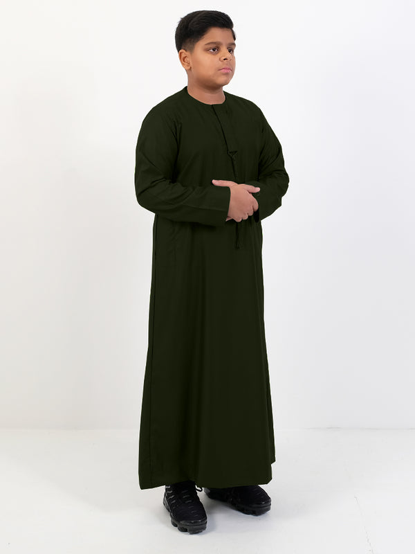Islamic Impressions Boys Omani Thobe With String - Long Sleeve - Islamic Impressions