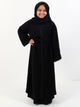 Girls Open Overcoat Abaya - Black With Paisley Design