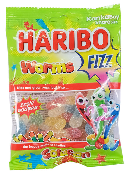 Haribo Sweets - Worms Fizz - 70g Bag - Islamic Impressions