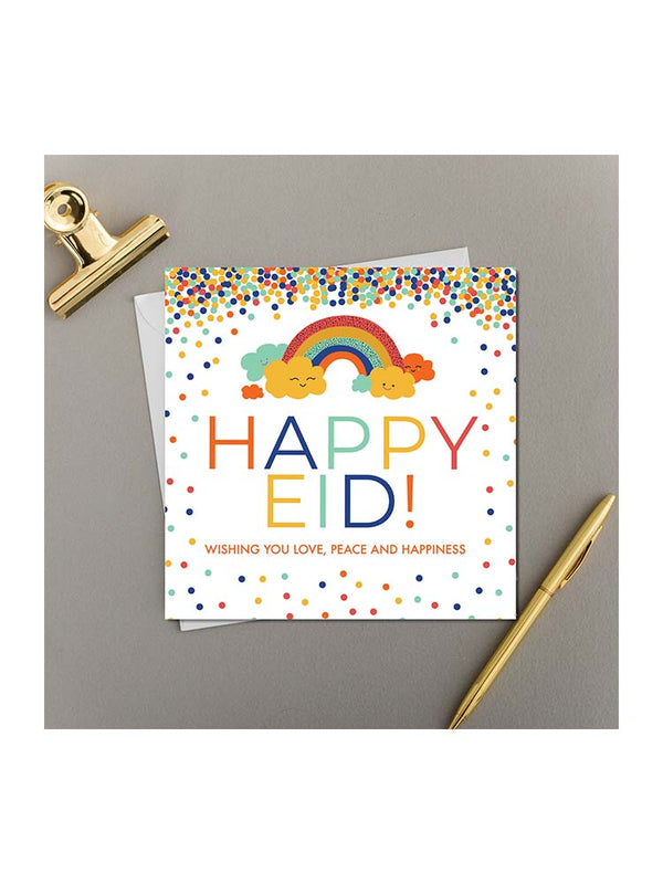 Happy Eid Greeting Card - Rainbow and Clouds - Islamic Impressions