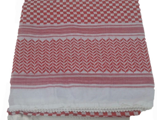 Mens Arab Style Scarf - Red & White