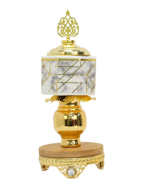 Bakhoor Burner - Wood/Marble Glass with Gold Trim - Islamic Impressions