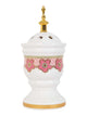 Bakhoor Burner - White Ceramic with Gold Trim and Geometric Designs