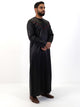 Omani Four Button Thobe - Contrast V Design - Full Sleeve